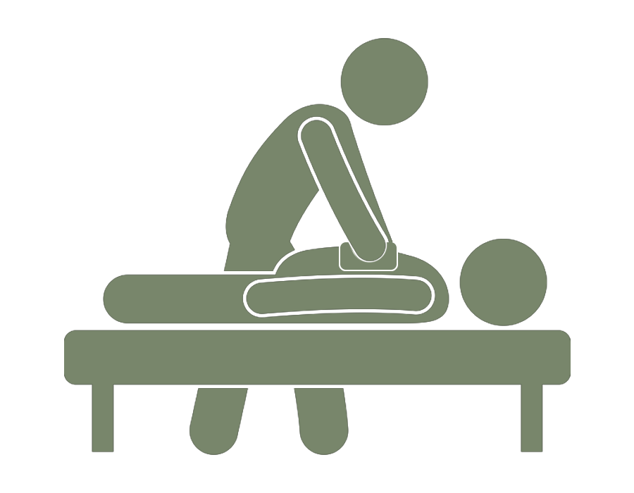 green icon of a person adjusting a person laying face down on a table